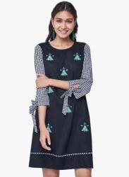 Black Checked A-Line Dress
