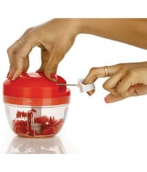 Ankur 4 Sharp Steel Blades Powerful Handy Plastic Manual Chopper with Anti Skid Base