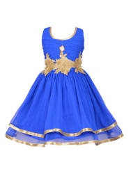 Aarika Girls Blue Solid Fit and Flare Dress