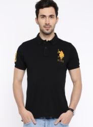 Black Solid Polo Collar Tshirt