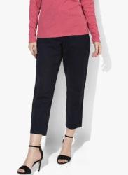 Navy Blue Solid Slim Fit Cigarette Trouser
