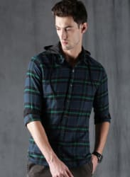 Blue & Green Slim Fit Checked Casual Shirt With Detachable Hood