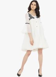 White Coloured Embroidered Shift Dress