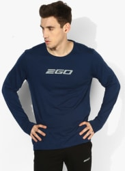 Essential Navy Blue Graphic Round Neck T-Shirt