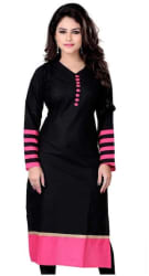 The Style Story Women Cotton Solid Straight Kurta - Black