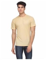 KETEX Men Slim fit Round neck Solid T-Shirt - Yellow