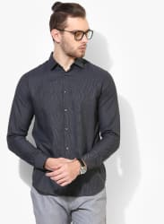 Black Self Design Slim Fit Casual Shirt