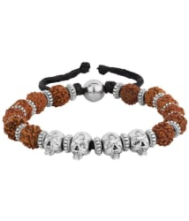 Voylla Mahadev Skull and Rudraksha Beaded Bracelet