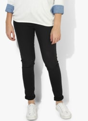 Black Solid Mid Rise Regular Fit Jeans