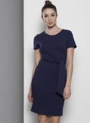 Navy Blue Coloured Solid Shift Dress