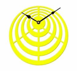 Sehaz Artworks Circles Round Wooden Wall Clock (25.5 cm x 25.5 cm x 3 cm, Yellow)