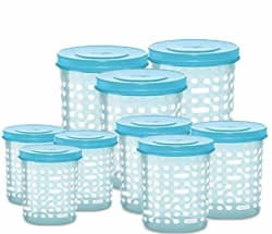 MILTON Plastic Storex Containers, 500ml, 750ml, 1000ml - 3 Each (Aqua Blue, MILTONSTOREX-SET9-50010001500-AB) - Set of 9