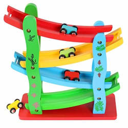 Toyshine Wooden Ramp Race Track Car Set Toy, Assorted Design