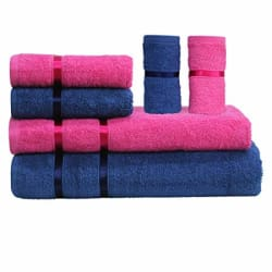 Story@Home 6 Piece 450 GSM Cotton Soft Towel Set - Navy Blue and Pink