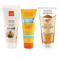 VLCC Sun Screen Gel and Scrub and Kesar Chandan Face Wash Combo