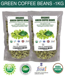 PL Organic Decaffeinated Green Coffee Bean For Weight Loss & Appetite Suppressant (500 gm Each) (Pack of 2)