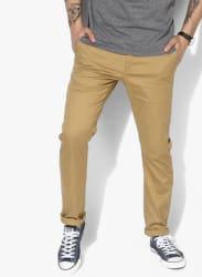 Khaki Textured Skinny Fit Chinos