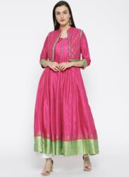Pink Printed Anarkali Kurta with Ethnic Jacket