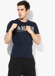 Navy Blue Printed Round Neck Tshirt