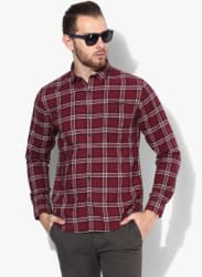 Maroon Checked Slim Fit Casual Shirt