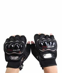 Probiker Half Finger Motorcycle Riding Gloves (Black, XL)