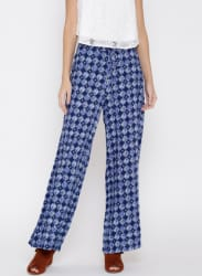Navy & White Printed Palazzos