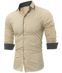 pearl ocean Beige Slim Fit Shirt Single