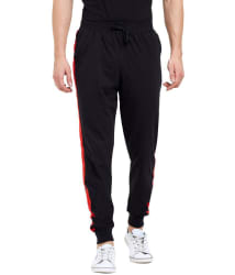 Maniac Black Cotton Joggers Single