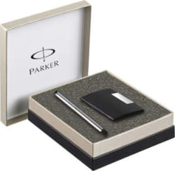 Parker Vector Stainless Steel CT with Free Card Holder Roller Ball Pen