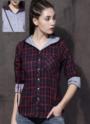 Navy Blue Regular Fit Checked Casual Shirts