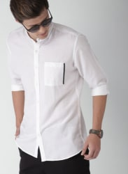 White Slim Fit Solid Casual Shirt