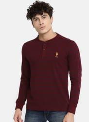 Maroon Striped Mandarin Collar T Shirt