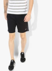 Black Solid Regular Fit Sports Shorts
