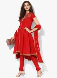 Red Solid Salwar Kameez Dupatta