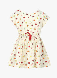 Cream-Coloured & Red Printed Fit and Flare Dress