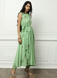 Green Embroidered Kurta with Trousers