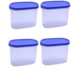 Tupperware - 1700 ml Plastic Grocery Container (Pack of 4, White, Blue)