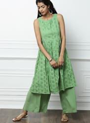 Green Schiffly Embroidered Kurta with Palazzos