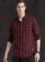 Maroon Checked Regular Fit Casual Shirt