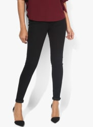 Black Solid Mid Rise Skinny Fit Jeans