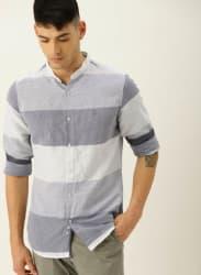 Blue Striped Slim Fit Casual Shirt