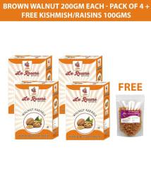 LA ROSERA Walnuts (Akhrot) 200 gm each - Pack of 4 (Without Shell) + Free Kishmish/Raisins 100gms