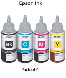 Epson Ink bottle set of 4 (T6641-B,T6642-C,T6643-M,T6644-Y) 70 Ml Each For L100/L110/L200/L210/L300/L310/L350/L355/L550/L380