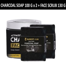 Barber s Club Charcoal Combo Natural & Organic- Ultimate detox (Charcoal Soap 100gmX2 + Activated Charcoal Face Scrub 130 gm