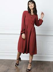 from Deepika Padukone Women Maroon Solid A-Line Dress