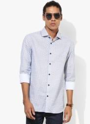White Printed Slim Fit Formal Shirt
