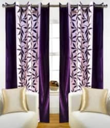Red Hot 210 cm (7 ft) Polyester Door Curtain (Pack Of 2) (Floral, Purple)