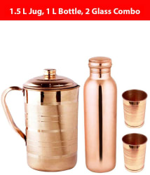 KC Brown 1000 ml Copper Water Bottle, 1500 ml Jug and 2 Glass Combo