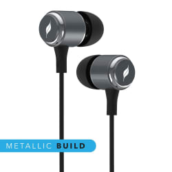 Leaf Metal Wired Earphone With Mic- Gunmetal Black