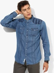 Blue Faded Regular Fit Casual Shirt